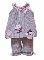 Baby Pant Set -  Gingham Cupcake Capri Outfit  - sold out