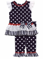Rare Editions Navy Mixed Print Nautical Legging Set