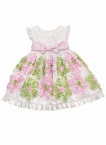 White Taffeta Dress With Pink and Lime Soutach Flowers