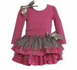 Bonnie Jean Toddler Holiday Dress - Magenta Sparkle Dress