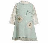 Toddler Sweater Dress Set Bonnie Jean Blue Polka Dot Mittens Dress-sold out