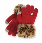 Girls Faux Fur Trim Texting Gloves - RED