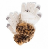 IVORY  Girls Faux Fur Trim Texting GLOVES