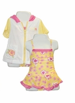 Infant Pink Yellow Ruffle Swimsuit with Matching Robe Coverup - SOLD OUT