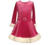 Toddler Dress Sparkle Fuchsia Velour FINAL SALE