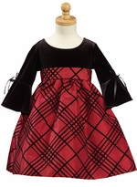 Girls Holiday Dresses  - Black Velvet - Red Flocked Taffeta SIZE 7 LAST ONE