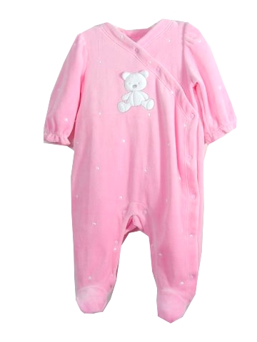 In Fashion Kids Newborn Girls Velour Footie - Pink Teddy -  SIZE 3/6 MONTH at Sears.com