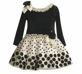 Toddler Holiday Dress - Black Velour and Ivory Dot Dress