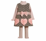 Bonnie Jean Pink Heart Embroidered Fleece Jumper Pant Set