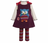 Infant  to 6x Purple Owl Applique Fleece Jumper Dress Set