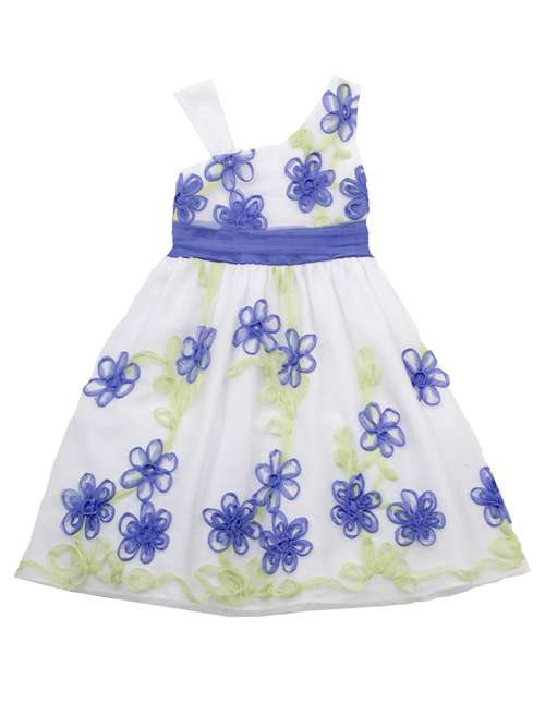 Rare Editions Periwinkle/ Lime Flower Soutach Dress CLEARANCE FINAL SALE 5 at Sears.com