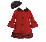 Girl's Red Fleece Black Trim Hat Coat Set