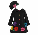 Girls Black Fleece Flower Coat with Matching Hat