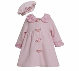 Baby or Girls Coat : Pink Flower Fleece Coat with Hat