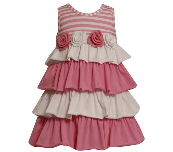 Bonnie Jean Pink and White Tiered Knit Dress  - Baby to Girls Size   12 months-one left at Sears.com