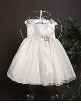 Infant Girls Ivory with Gold Jacquard Dress