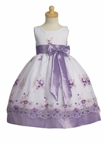 Girls Special Occasion Dress - Lilac Embroidered Dress sold out