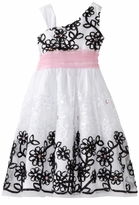 Girls Dresses White Mesh Dress With Black Soutache Border - sold out