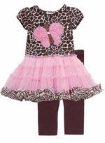 Brown/ Pink Animal Print Tutu Legging Set
