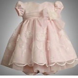 Baby Party Dress -  Pink Satin and Organza Embroidered sold out