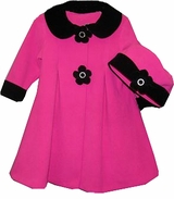 Fuchsia Fleece Coat with Black Collar with Hat  SOLD OUT