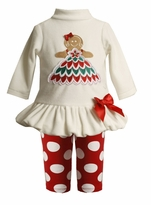 Newborn Christmas Outfit - Ivory Velour Tunic and Dot Legging SOLD OUT
