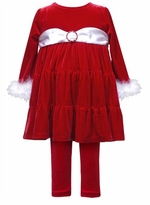 Christmas Princess Red Velour Tunic and Legging Set