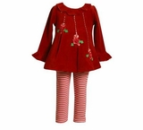 Red Christmas MIstletoe Pant Set  12 MONTH