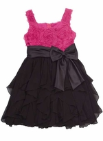 Girls 7 - 16 Dresses - Black and Fuchsia Tiered Dress - SOLD OUT