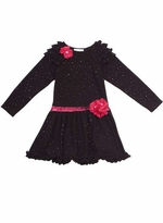 Black Fuzzy Sparkle Knit Dress with Ruffle Sleeves  Girls Size