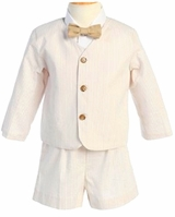 Boys Khaki Striped Seersucker Eton Suit and Shorts - SOLD OUT