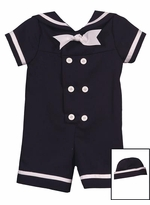 Infant Boys Sailor Suit With Hat - Navy