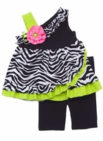 Black/ White Zebra Print With Lime Ruffle Legging Set