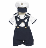 Boys Navy 4 pc. Sailor Suit with Hat