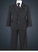 Boys Suits Black Pinstripe Suit - 5 Pc Suit