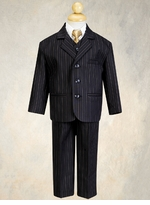 Boys Suits - Formalwear - Black / Gold Pinstripe Suit - 5 pcs