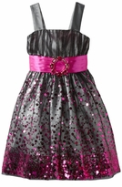 Fuchsia Sequined Black Mesh Dress