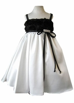 Ivory and Black Girls Dress -  Flower Bodice