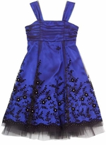 Rare Editions Royal and Black Flock Border Dress