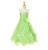 Dazzling Girls Dress Crystal Organza with Sash - LIME  SOLD OUT