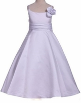 Girls White Bridal Satin Flower Girl or Holy Communion Dress - Handmade Rose
