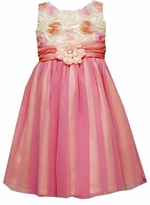 Girls Dresses - Coral Floral Soutache to Mesh Dress - sold out