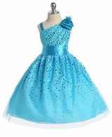 Turquoise One Shoulder Sparkle Dress  SOLD OUT