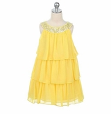Yellow Tiered Chiffon Sequined Girls Dress Size