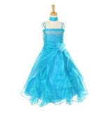 Dazzling Girls Crystal Organza Dress with Sash TURQUOISE SOLD OUT