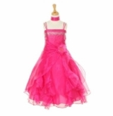SOLD OUT Dazzling Girls Dress Crystal Organza with Sash  FUCHSIA