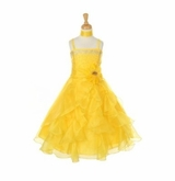 Dazzling Girls Dress Crystal Organza with Sash - YELLOW  SOLD OUT