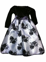 Lavender Flocked Organza Black Stretch Velvet Bodice