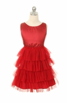 Girls Red Dress - Tafetta Tiered Mesh Dress