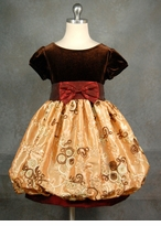 Elegant Girls Holiday Dress - Brown Velvet Gold Taffeta  SOLD OUT